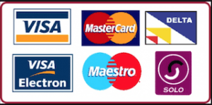 We accept payment by all major credit and debit cards.
