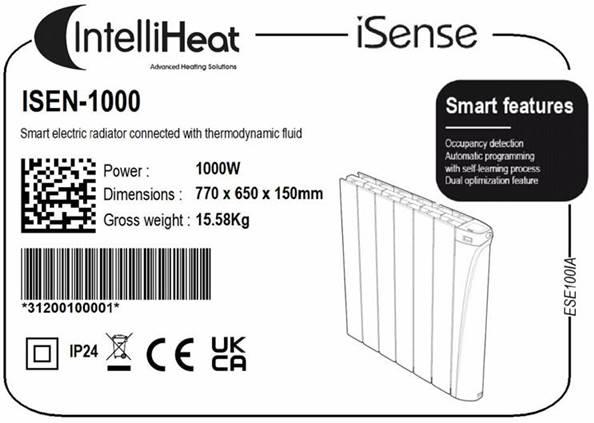 Intelli Heat UKCA marking electric Radiators labels 012