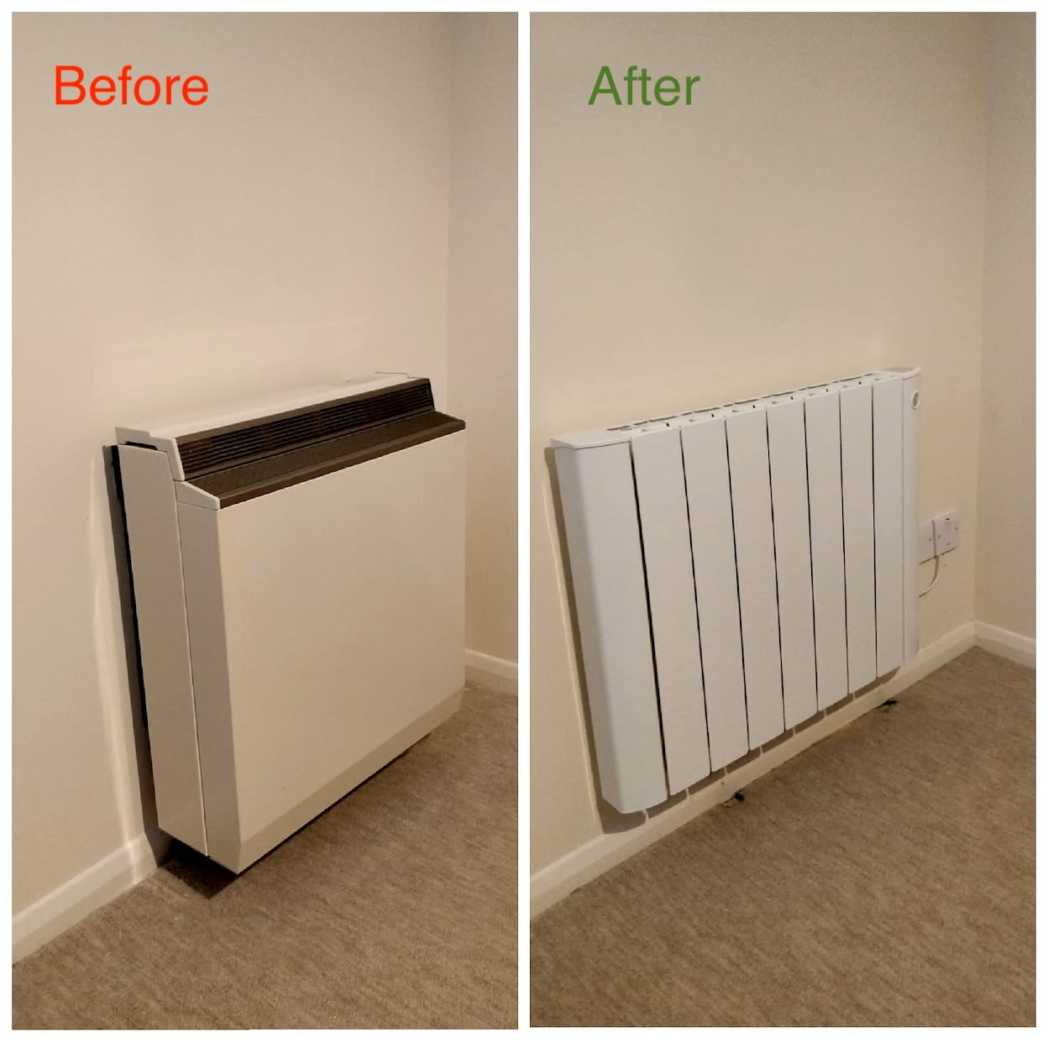IntelliHeat Wifi Electric Radiators | installation of smart electric heaters Before and After